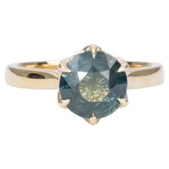 2.68 Carat Round Sapphire Ring 14 Karat Yellow Gold Solitaire AD1540-3