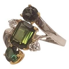 2.68 Carat Total Green Tourmaline and Diamond Cocktail Ring in 18 Karat Gold