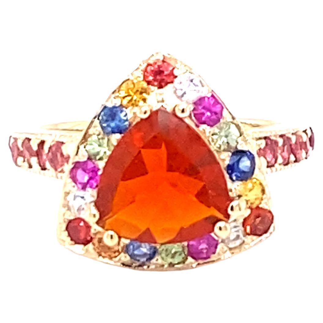 2.68 Carat Trillion Cut Fire Opal Sapphire 14 Karat Yellow Gold Ring