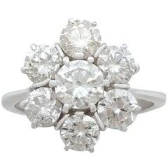 2,68 ct Diamantring Weißgold Cluster ca. 1950