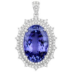26.82 Carat Tanzanite and White Diamond 18 Karat White Gold Pendant