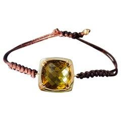 26.9 Carat Cognac Citrine Flexible Bracelet in 14 Karat Yellow Gold