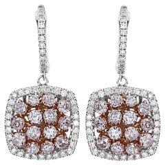 2.69 Carat Natural Pink Diamond Earrings