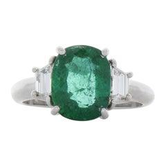 2.69 Carat Oval Emerald & Diamond Cocktail Ring 18k White Gold