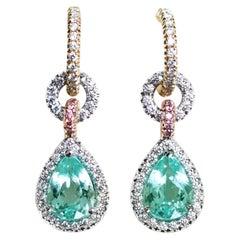 2.69 Carat Paraiba Tourmaline White & Pink Diamond Halo Charm Earrings