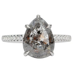 2.69 Carat Pear Shape Salt and Pepper Diamond Ring 14 Karat Gold AD1866-6