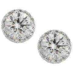 2.69 Carat Round Diamond Halo Stud Earrings