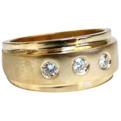 .26ct Natural Round Diamonds Raised Step Mod Brushed Ring 14kt Minimalist State