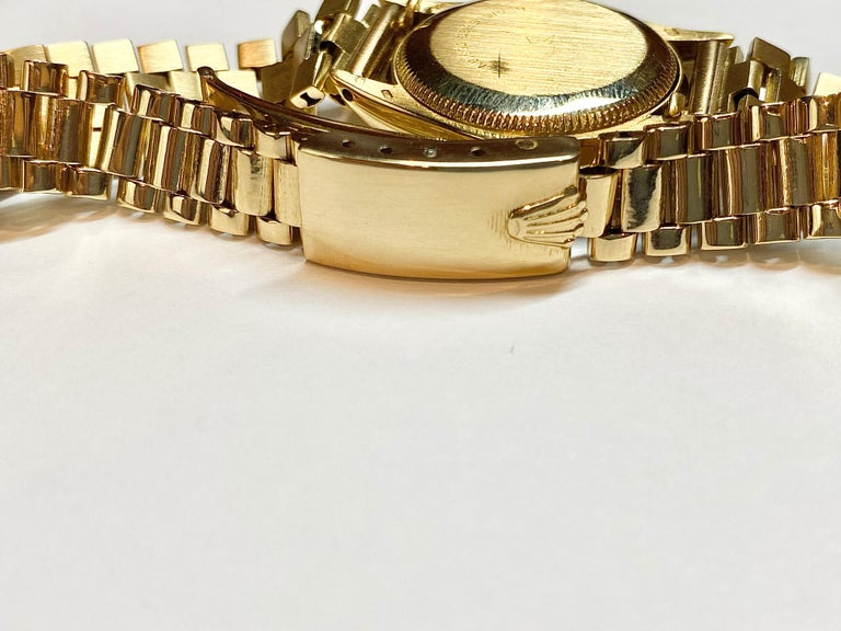Modern Rolex Oyster Perpetual Black Face/Diamond Bezel Rolex in 18k Yellow Gold For Sale