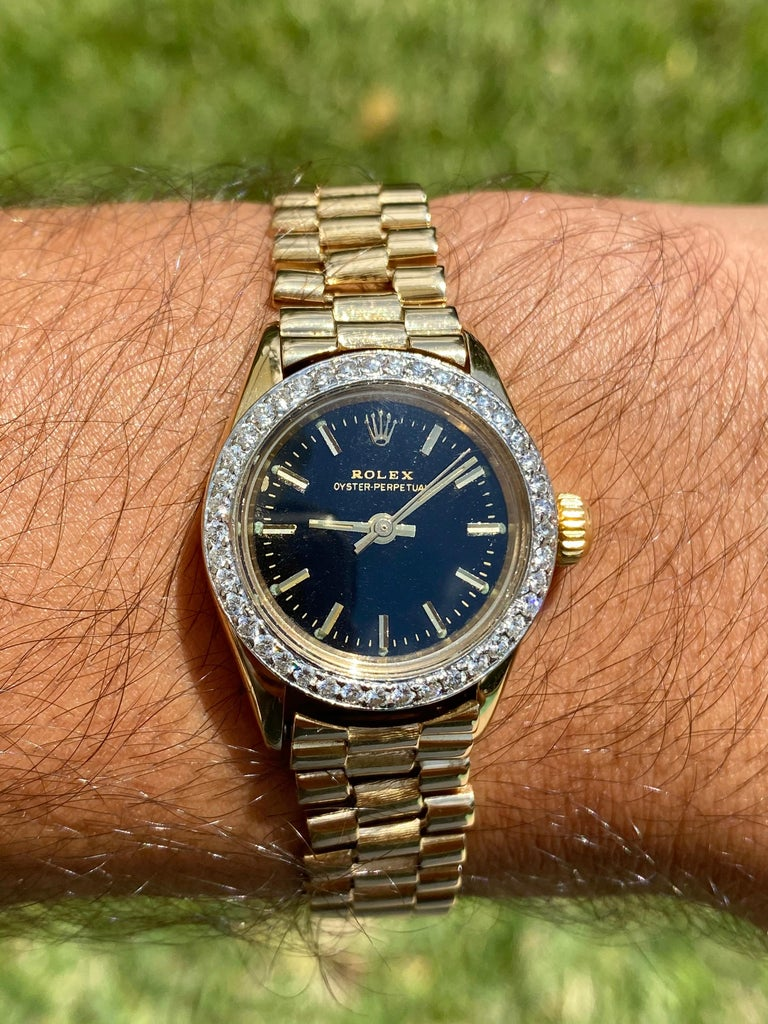 Rolex Oyster Perpetual Black Face/Diamond Bezel Rolex in 18k Yellow Gold For Sale 2