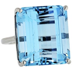 27 Carat Aquamarine Platinum Ring