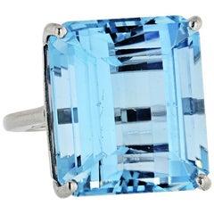 27 Carat Aquamarine Platinum Ring