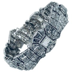 27 Carat Art Deco Diamond Platinum Bracelet