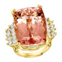 27 Carat Cushion Shape Morganite & Diamond Cocktail Ring 14 Karat Yellow Gold