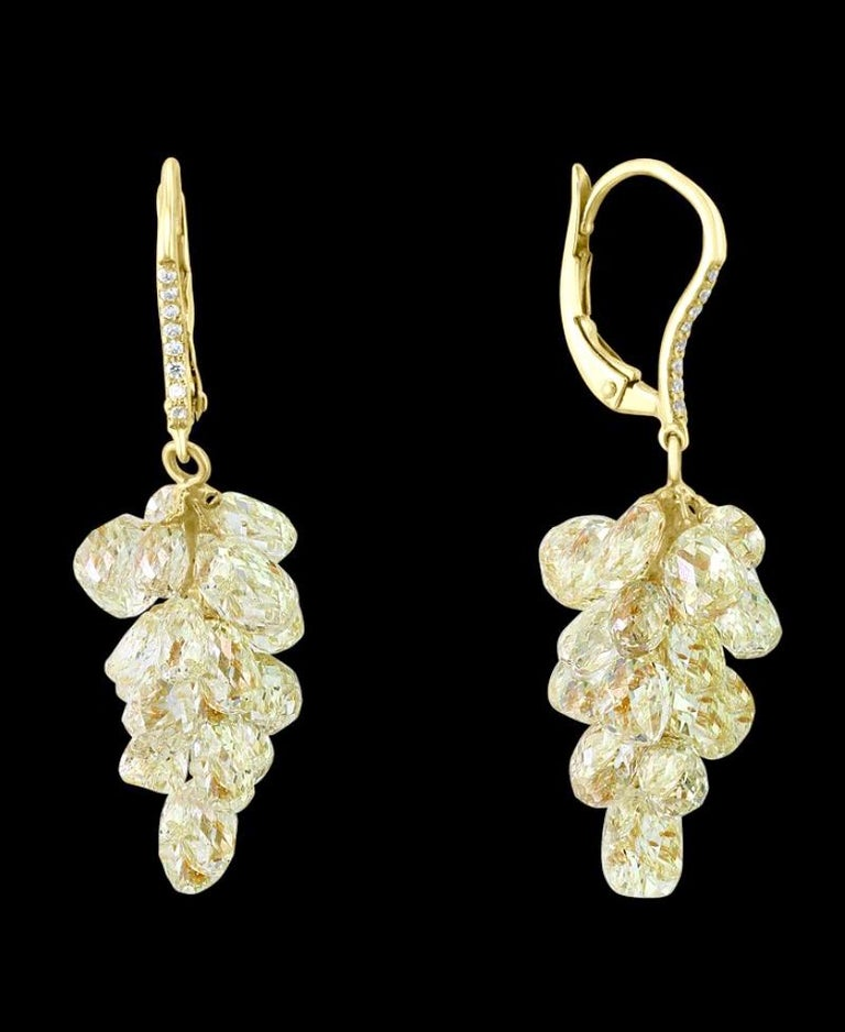 27 Carat Diamond Briolettes Hanging Drop Earrings 18 Karat Gold For Sale 1