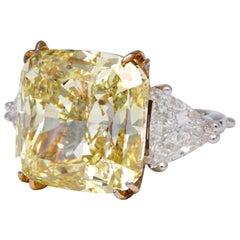 27 Carat Fancy Intense Yellow Diamond Ring GIA Certified