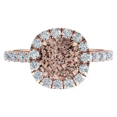 2.7 Carat Light Pink Looking GIA Certified Orange Brown Cushion Diamond Ring