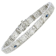 .27 Carat Marquise Simulated Sapphire and Diamond Art Deco Bracelet 14k Gold