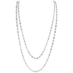 27 Carat Old European Cut Diamond by Yard Platinum Chain Necklace 40 Inches