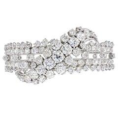 27 Carat Old Mine Cut Diamond Bangle Bracelet