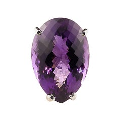 27 Carat Pear Shape Amethyst and Sterling Silver Ring