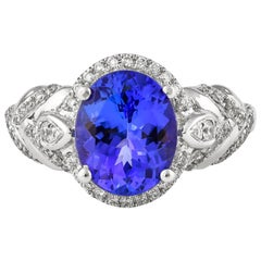 2.7 Carat Tanzanite and White Diamond Ring in 18 Karat White Gold