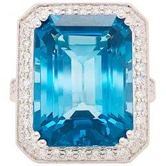 27 Carat Topaz & Diamond Halo Ring 14K White Gold Emerald Royal Ocean Blue Color
