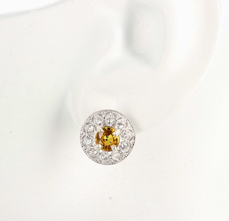 Women's or Men's 2.7 Carats Glittering Songea Yellow Sapphire and Diamond Earrings For Sale