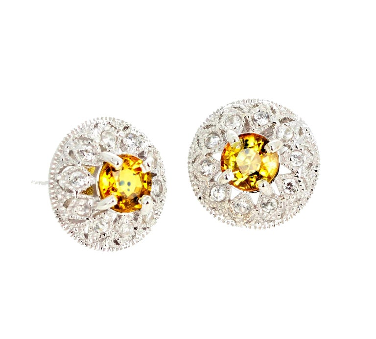 2.7 Carats Glittering Songea Yellow Sapphire and Diamond Earrings For Sale 1
