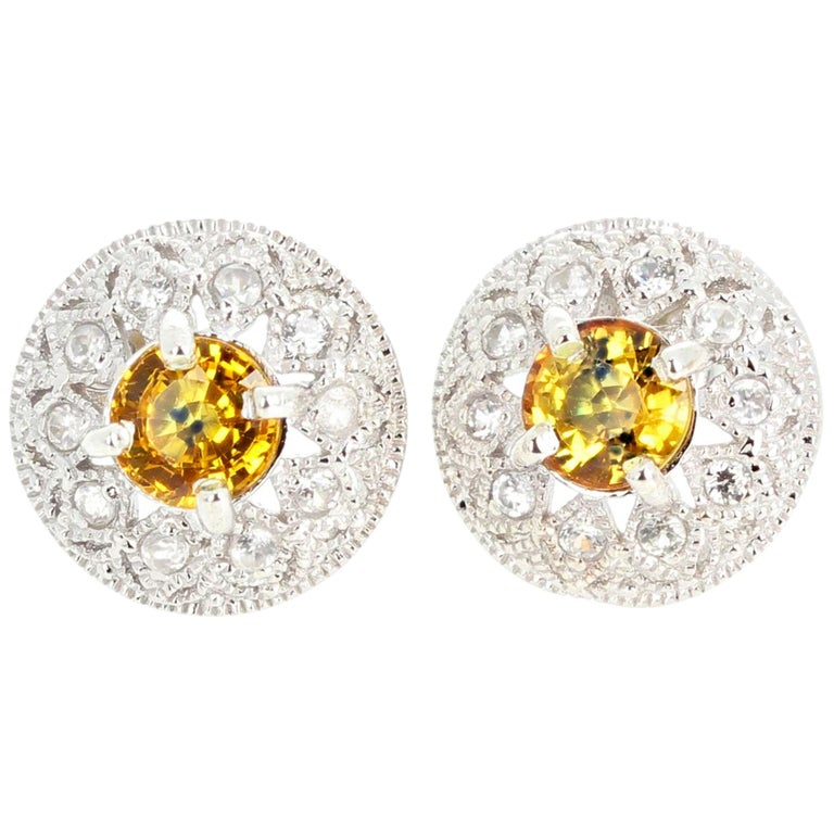2.7 Carats Glittering Songea Yellow Sapphire and Diamond Earrings For Sale