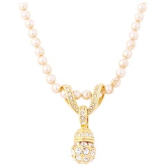 """27"""" Champagne Pearl Necklace w Crystal Encrusted Pendant By Nolan Miller, 1980s"""