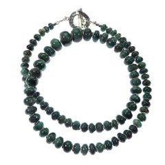 Graduated Emerald Rondelle Necklace with Silver Accents