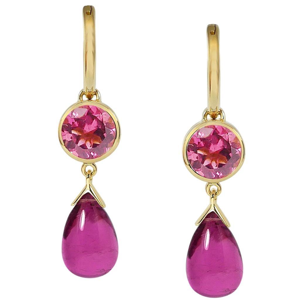 2.60 & 7.10 Carats Pink Tourmalines 18 Karat Yellow Gold Drop Earrings