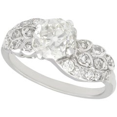 2.70 Carat Diamond White Gold, Platinum Set Twist Ring