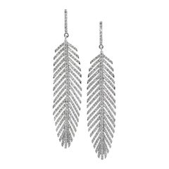 2.70 Carat Diamond and Platinum Handmade Feather Earrings