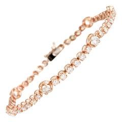 2.70 Carat Diamond Bracelet 14 Karat Rose Gold Tennis Line Estate Fine Jewelry