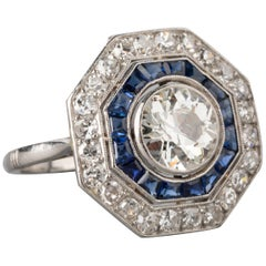 2.70 Carat Diamonds and Sapphires French Art Deco Ring