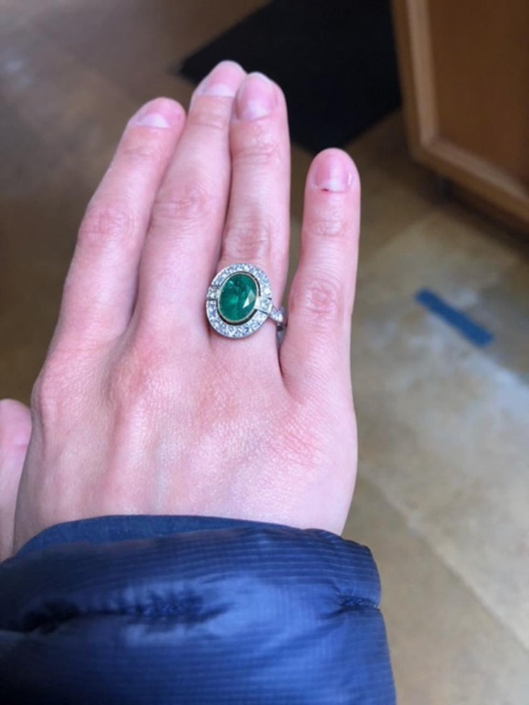 2.70 Carat Emerald and Diamond Art Deco Style Platinum Engagement Ring For Sale 2
