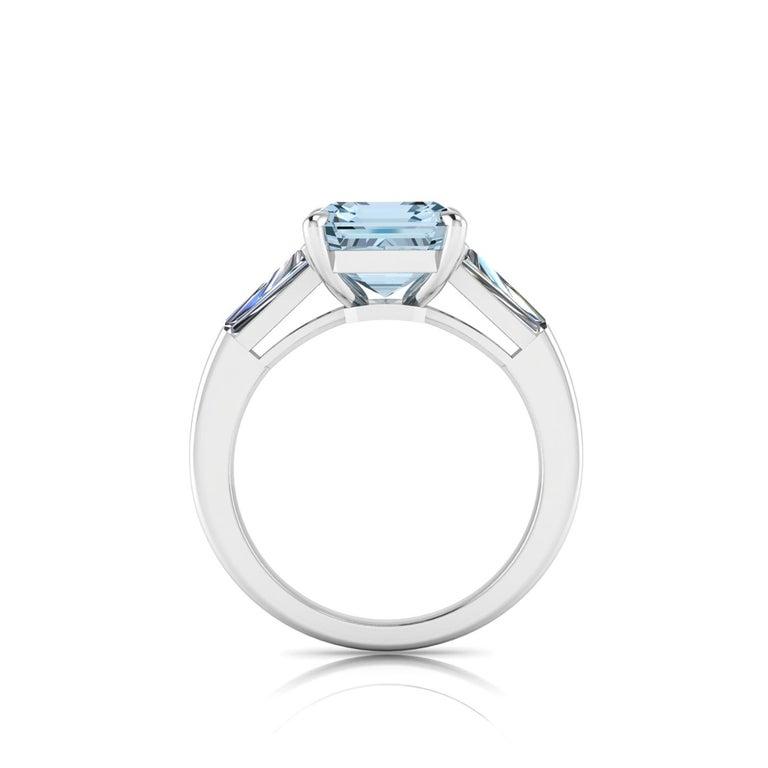 Emerald Cut 2.70 Carat Emerald Aquamarine 0.40 Carat Baguette Diamonds Cocktail Ring For Sale