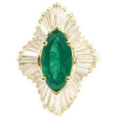 2.70 Carat Emerald Ballerina Style Diamond Cocktail Ring