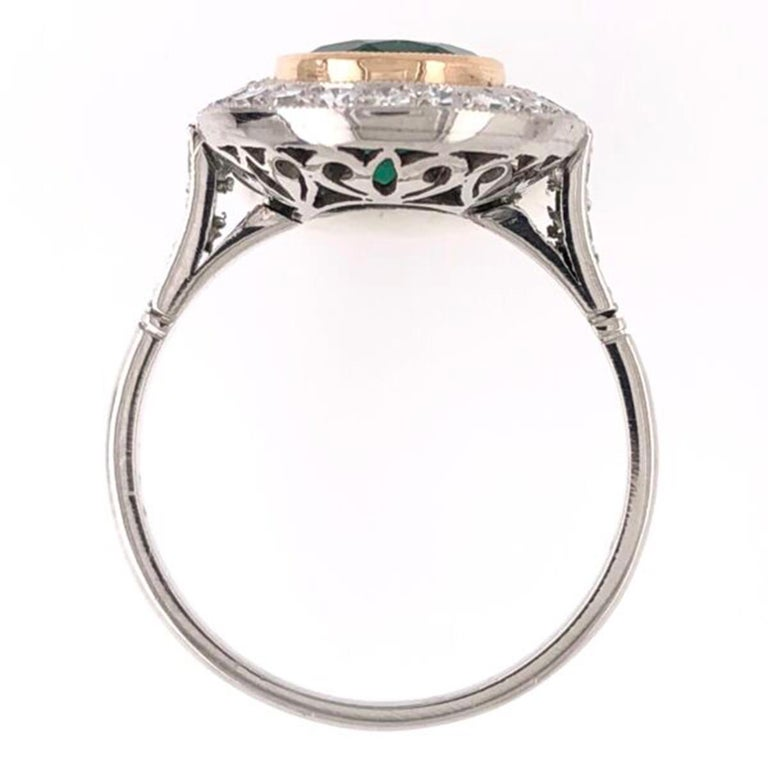Mixed Cut 2.70 Carat Emerald and Diamond Art Deco Style Platinum Engagement Ring For Sale