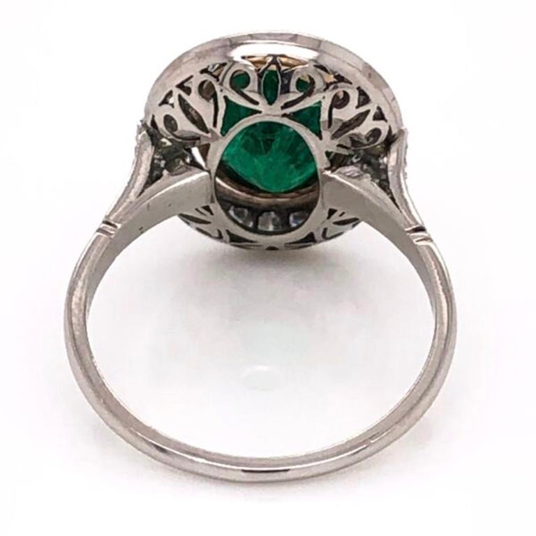 Women's 2.70 Carat Emerald and Diamond Art Deco Style Platinum Engagement Ring For Sale