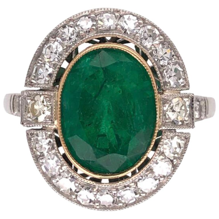 2.70 Carat Emerald and Diamond Art Deco Style Platinum Engagement Ring For Sale