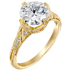 2.70 Carat GIA Vintage Engagement Ring, Round Brilliant Diamond Ring 18 Karat