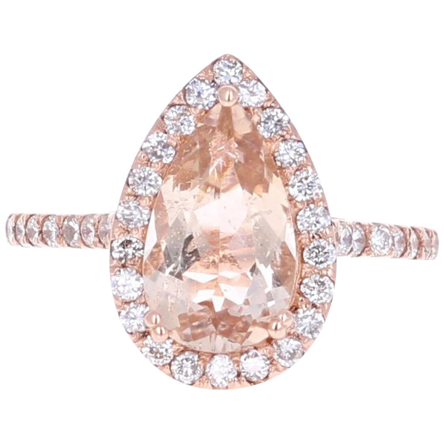 2.70 Carat Morganite and Diamond 14 Karat Rose Gold Engagement Ring