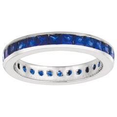 2.70 Carat Natural Princess Cut Sapphire Eternity Band Ring 14 Karat White Gold