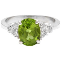 2.70 Carat Natural Very Nice Looking Peridot and Diamond 14K Solid Gold Ring