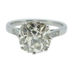 2.70 Carat Old European Cut Diamond Ring, Solitaire Setting on Platinum Band