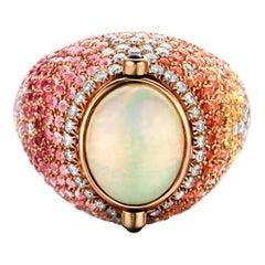 2.70 Carat Opal 18 Karat Lucky Beetle Diamond Ring