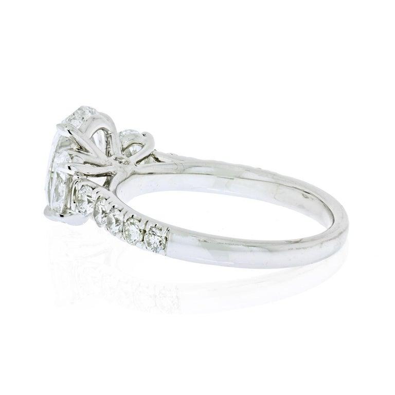 Modern 2.70 Carat Oval Cut Diamond Three-Stone Engagement Ring For Sale